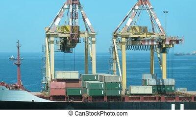 port, chargement, mer, contre, cargaisons