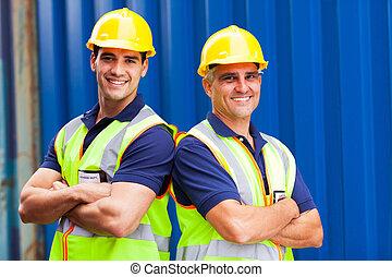 port, confiant, ouvriers