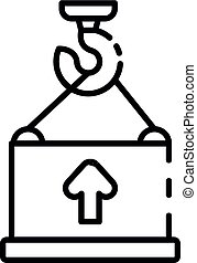 Port container crane icon, outline style