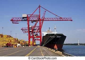 Port Container Cranes unloading a Ship - Giant container ...