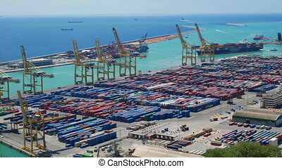 Container Port docks ship container global time lapse export commercial shipping freight travel business cargo