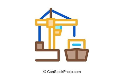 port crane and ship Icon Animation. color port crane and ship animated icon on white background