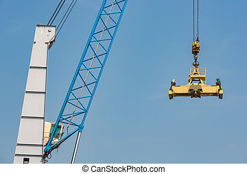 Port crane for transipment of freight containers - Harbor...