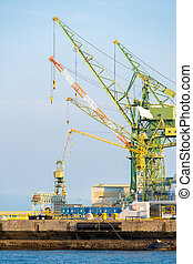 Port crane - Hoisting cranes in the industrial zone of the ...
