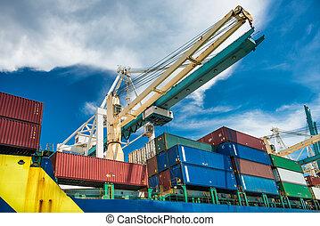 port crane unloads cargo ship