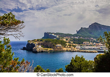 Port de Soller at the seaside of Mallorca, Spain.