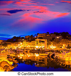 Port de Soller sunset in Majorca at Balearic island of ...