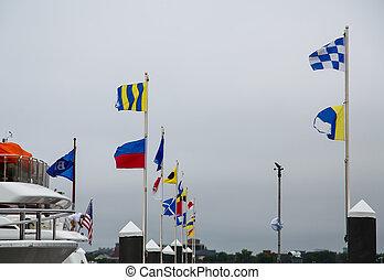 port, drapeaux, nautique