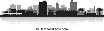 Port Elizabeth city skyline vector silhouette - Port...
