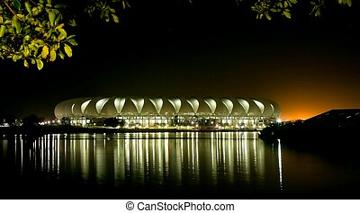 Port Elizabeth Soccer Stadium at Night with lights...