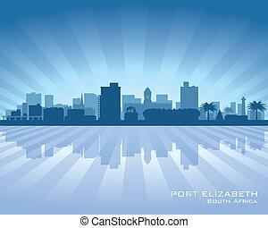 Port Elizabeth South Africa city skyline silhouette. Vector...