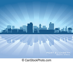 Port Elizabeth South Africa city skyline silhouette. Vector...