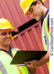 port, enregistrement, ouvriers, récipients