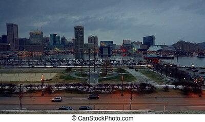 port, fédéral, horizon, colline, vue, baltimore, intérieur
