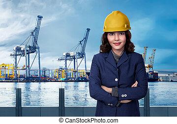port, femme affaires, portrait