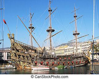 port, gênes, vieux, galion, espagnol