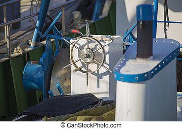 port, gouvernail, bateaux, -, peche