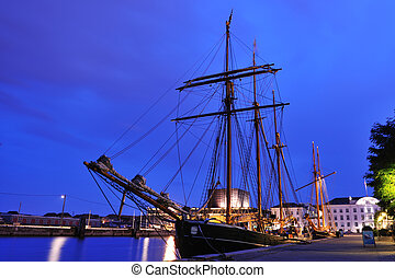 port, grand, copenhague, bateau, danemark