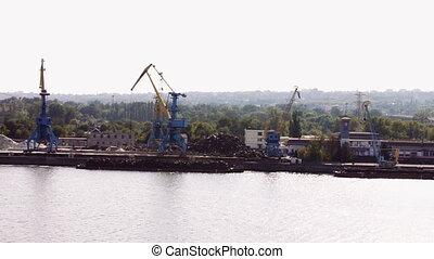 port., grand, grue, travail, rivière