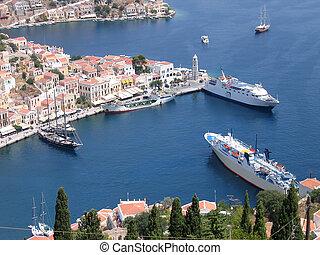 port, grek, antena, miasto, veiw