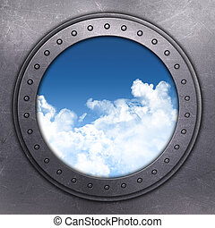 3D render of a port hole looking out onto blue sky