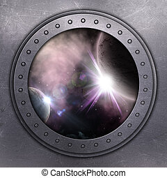 3D render of a port hole looking out onto space