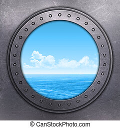 3D render of a port hole looking out onto the ocean