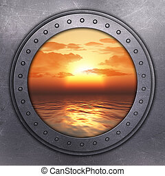 Port Hole looking out onto the ocean - 3D render of a port...