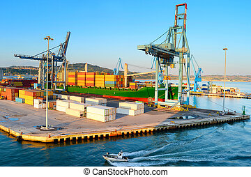 View of Industrial commercial port in the morning. Ancona, Italy