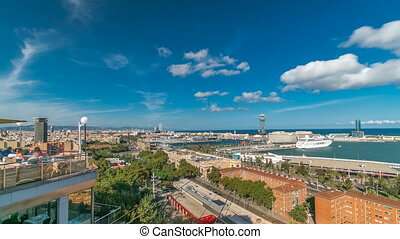 Port in Barcelona skyline timelapse. View to the marina and the ferry harbor with cable car.