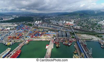 port in black sea. Aerial shot. Loading ships in the cargo port