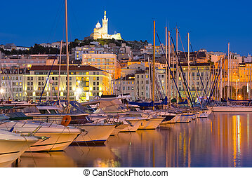 Port in Marseille at a summer night