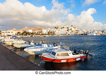 Port in Naxos, Greece - Port with boats in Naxos Chora town,...