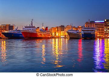 Port in Piraeus, a suburb of Athens, Greece.