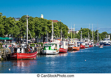 Port in Warnemuende (Germany) with fishing boats.
