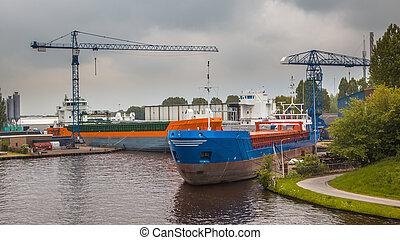 port, intérieur, bateaux, navigation