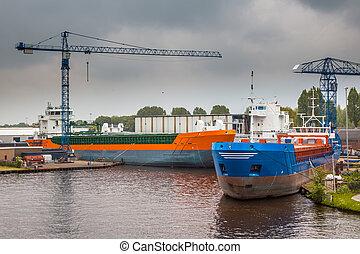 port, intérieur, bateaux, navigation, nouveau