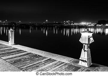 port, jetée, national, maryland., rivière potomac, nuit