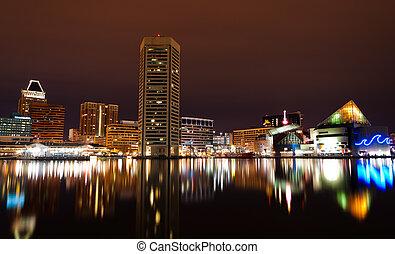 port, long, horizon, night., exposition, baltimore, ...