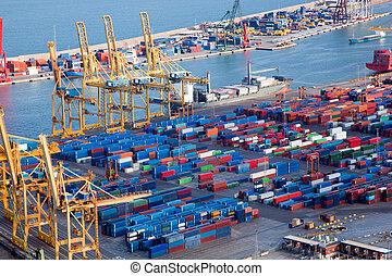 port, lotissements, cargaison