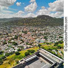 Port Louis aerial skyline with city fortress, Mauritius.