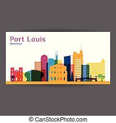 Port Louis city architecture silhouette. Colorful skyline. ...