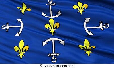 Port Louis City Close Up Waving Flag