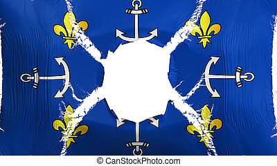 Port Louis city flag with a hole - Port Louis city, capital ...