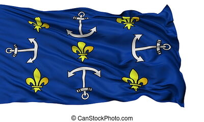 Port Louis City Isolated Waving Flag