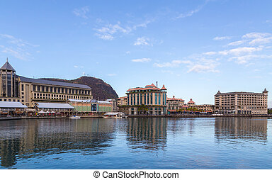 port louis le caudan waterfront capital of Mauritius.