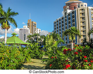Port Louis Mauritius - The city center of Port Louis, the ...