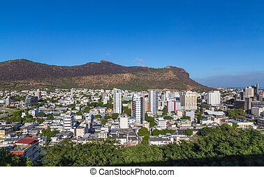 Port Louis Skyline Capital of Mauritius by day.