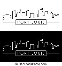 Port Louis skyline. Linear style. Editable vector file.