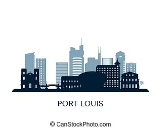 Port Louis skyline, monochrome silhouette. Vector ...